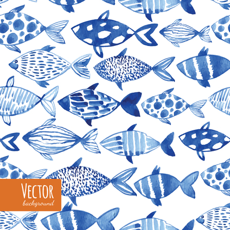 Light watercolor blue fishes on the black background. Seamlessly tiling fish pattern. Vector. Ilustração
