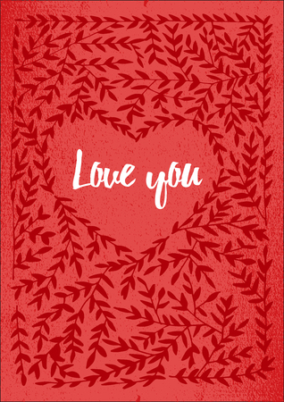 valentin: Valentin card with lettering i love you. Vector design element for valentines day, save the date, wedding stationary.