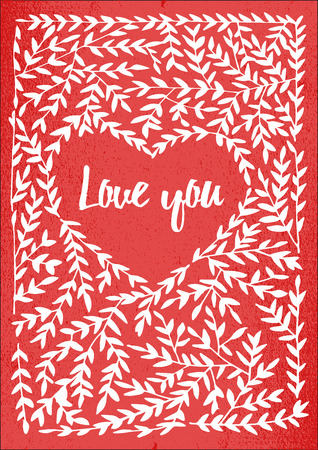valentin day: Valentin card with lettering i love you. Vector design element for valentines day, save the date, wedding stationary.