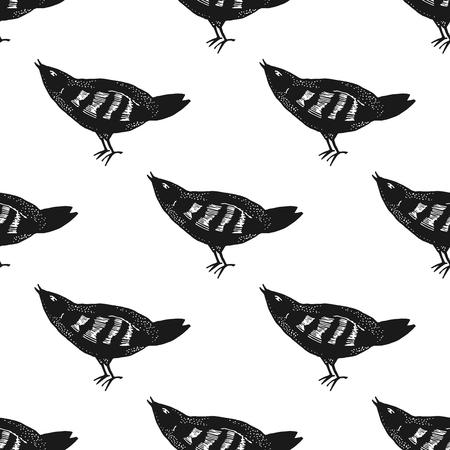 vogelspuren: Hand gezeichnet Vogelmuster nahtlos in Vektor.
