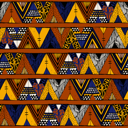 indian summer: Tepee seamless pattern. Wigwam native american summer tent illustration in vector. Indian background.