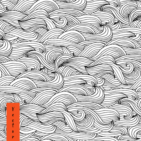 Hand drawn seamless wave pattern in vector. Seamless abstract hand-drawn pattern, waves background. Vector Illustration
