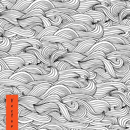 Hand getrokken naadloze golfpatroon in vector. Naadloos abstract hand-drawn patroon, golvenachtergrond. Vector Illustratie