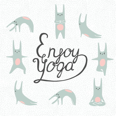 yoga poster: Hand lettering calligraphic inspiration poster with cartoon rabbits doing yoga poses. Enjoy yoga poster or postcard.