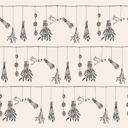 medicina tradicional china: Dibujado a mano de hierbas y plantas de ilustración vectorial de guirnalda en seco. Modelo inconsútil de la naturaleza. Vectores