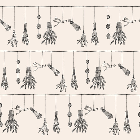 chinese medicine: Hand drawn dry herb and plants garland illustration in vector. Nature seamless pattern.