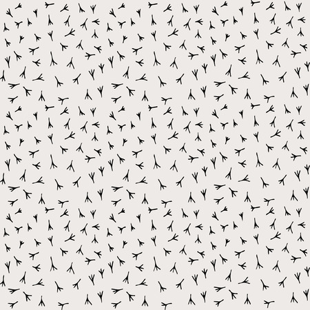 Traces of the bird paws pattern seamless in vector. Bird footprint illustration.