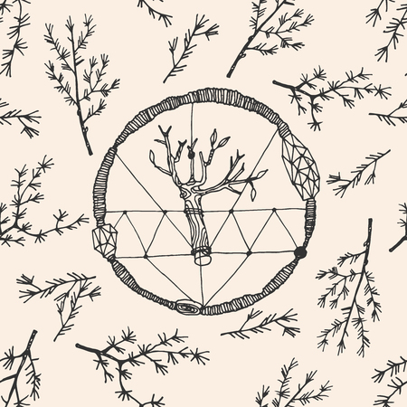 shamanic: Hand drawn boho ethnic seamless pattern with dream catcher. Shamanic dream catcher illustration. Illustration