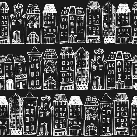 european culture: Set of Hand drawn houses. Seamless pattern with hand-drawn European architecture. Illustration