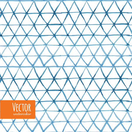Watercolor triangles seamless background pattern. Indigo shibori pattern collection.