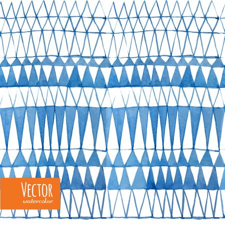 Watercolor triangles seamless pattern. Indigo shibori pattern collection.