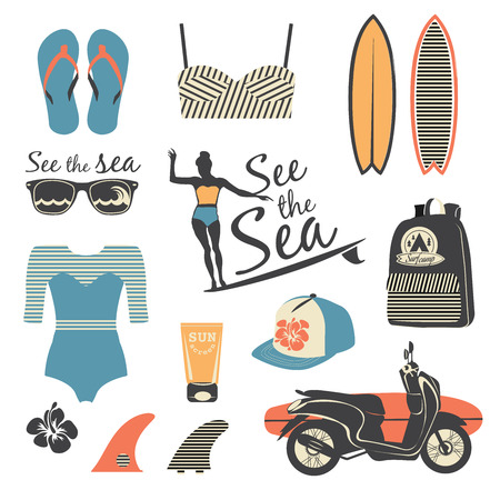 boardshorts: Beach style. Surfer retro vector set. Vintage surf elements.