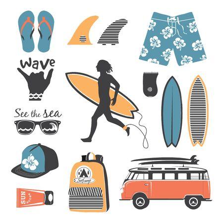 Beach style. Surfer retro vector set. Vintage surf elements.