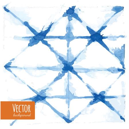 Abstract blue indigo tie dyed watercolor backgrounds in vector. Watercolor shibori batik technic illustration.