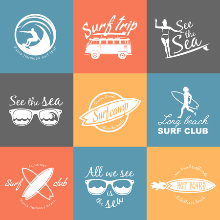 life style: Set of Surf logo and emblem. Surf summer t-shirt design. Surfing, swimming, beach life style.