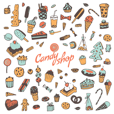 sweetshop: Hand drawn sweets, candy, cakes, lollipop, sweetmeats, gingerbread, ice cream. Vintage elements for confectionery, sweet-shop, pastry-shop. Sweet seamless pattern.