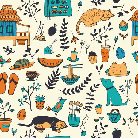 enjoy life: Doodle seamless pattern, enjoy life concept. Use for wallpaper, pattern fills, web page background, surface textures.