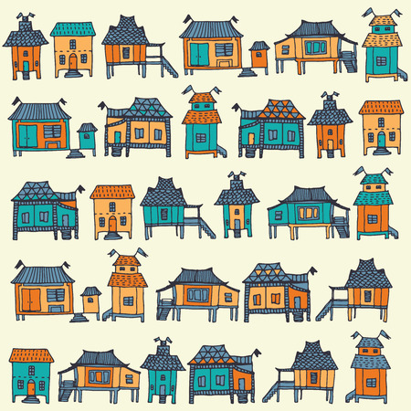 avenue: Hand drawn traditional Thai houses. Seamless pattern in vector.