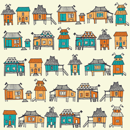 Hand drawn traditional Thai houses. Seamless pattern in vector.