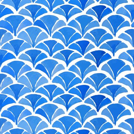 水彩画青和柄。着物パターンのコレクションです。