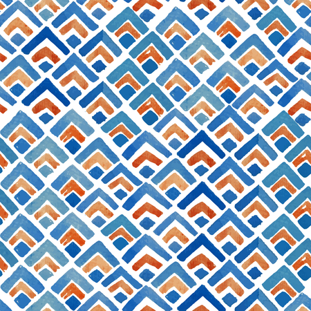retro patterns: Watercolor Japanese geometric seamless pattern Illustration