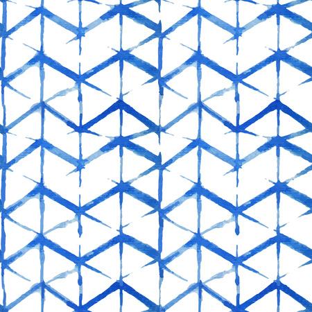 Watercolor shibori indigo seamless pattern. Tie dye Indigo shibori pattern collection. Illustration