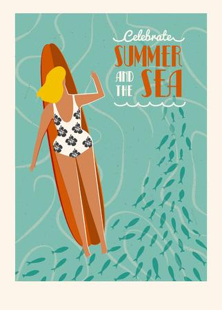 surf girl: Art deco surf poster in vector. Summer beach surfing girl illustration. Love the ocean poster. Flat style illustration. Illustration