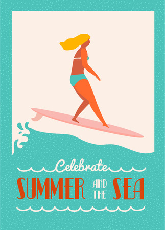 Summer tekstcitaat poster met surfer meisje op een longboard berijdt een golf. Beach lifestyle poster in retro stijl. Art deco posters met de tekst offerte. Flat illustratie.