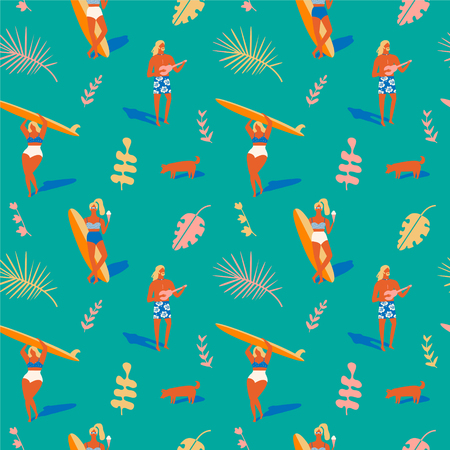 Hawaiian beach summer pattern. Retro beach tropical illustration in vector. Surfing pattern collection. 일러스트