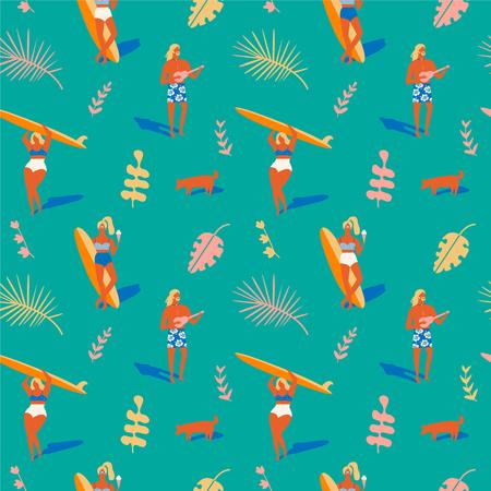 Hawaiian beach summer pattern. Retro beach tropical illustration in vector. Surfing pattern collection. Illustration