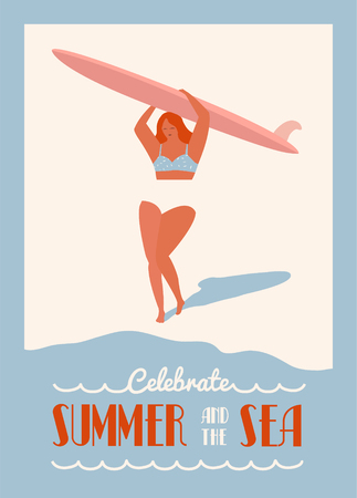 surf girl: Surfing summer poster with surf girl carrying the longboard on the beach. Flat retro surf poster. Summer inspiration poster with text quote.