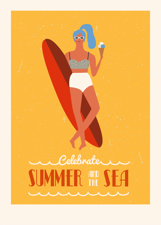 woman art: Retro poster collection in vector. Flat illustration with surfer girl with longboard eating ice cream. Beach lifestyle poster in retro style. Illustration