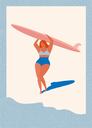 Art deco poster with surfer girl caring longboard on the beach. Beach lifestyle poster in retro style. Flat illustration.