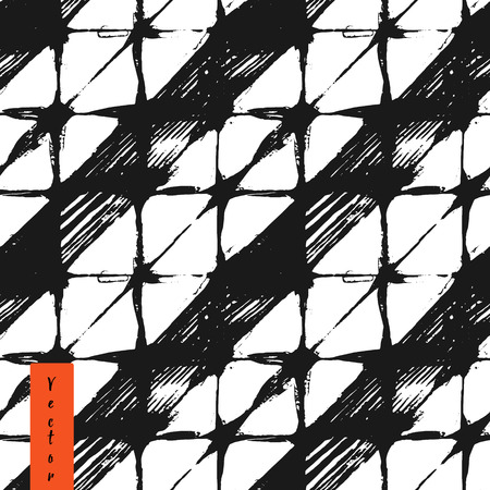 folded clothes: Hand drawn rhombus and stripes seamless pattern in vector.