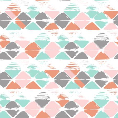 Hand drawn rhombus seamless pattern in vector. Geometrical tribal design.