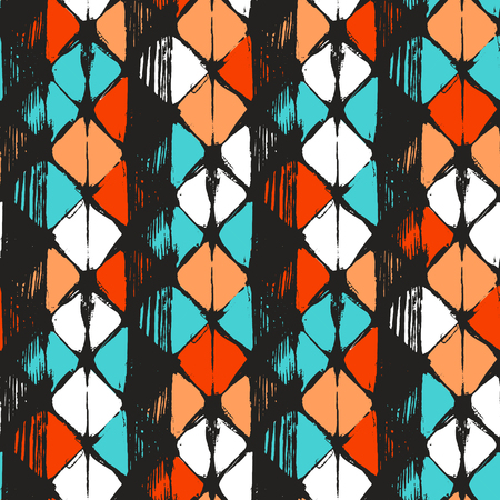 Hand drawn rhombus seamless pattern in vector. Geometrical tribal design.