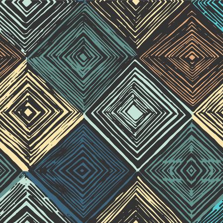 Hand drawn rhombus seamless pattern on black background.