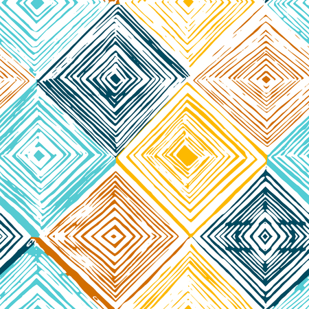 Hand drawn rhombus seamless pattern on white background. 일러스트