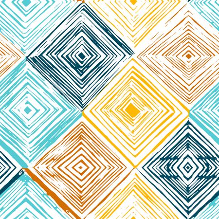 Hand drawn rhombus seamless pattern on white background. 矢量图像
