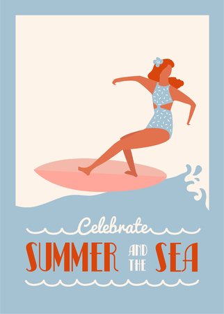 Retro surfing summer poster with surf girl riding the longboard. Flat retro surf poster.
