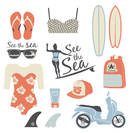 board shorts: Beach style. Surfer girl retro vector set. Vintage surf elements.