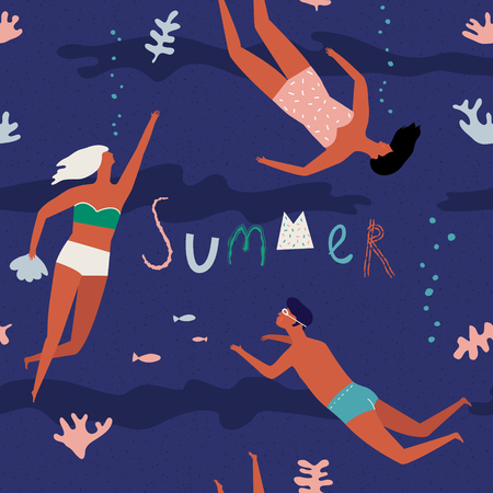 diver: Summer beach poster with lettering quote see the sea. Fun typography greeting card or poster with swimming people under the sea. Illustration