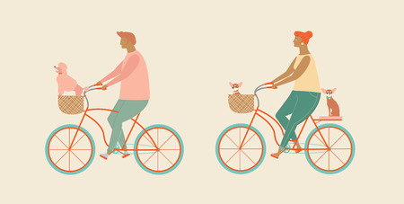 Cute couple riding a bicycle in vector. Funny flat characters man and women ride bikes with little dog in bike basket. Love family and pet dog illustration. Enjoy bicycle riding together.