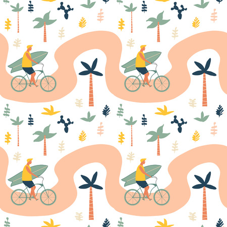 Surfer bicycle rider with surfboard on the beach seamless pattern. Funny cartoon character young man riding a bike. Summertime illustration.