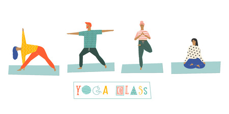 group fitness: Funny yoga people poster in vector. Yoga poses illustration.