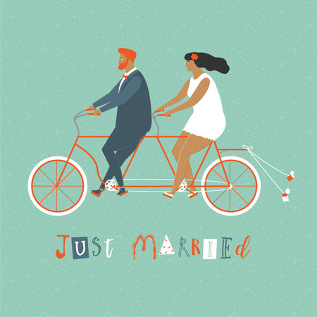Young newlywed couple riding a bicycle, going to honeymoon. Just married couple illustration in vector. Just married sign and cans attached to bicycle. Illustration