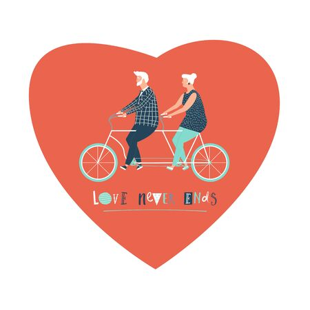 grandparent: Happy elderly couple cycling bicycle together. Happy anniversary for grandparent. Happy valentines day card for old parents. Flat design vector illustration. Illustration