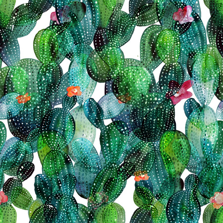 peyote: Watercolor cactus tropical garden seamless pattern. Watercolour cactus pattern. Stock Photo
