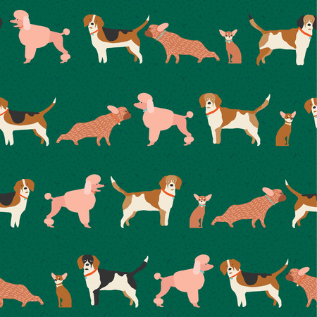 dog walking: Dog puppy pattern seamless in vector.