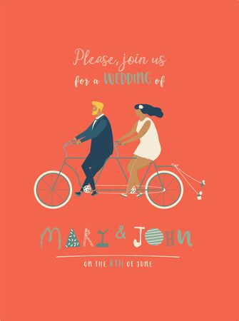 Wedding invitation with groom and bride riding tandem bicycle. Cute newlyweds riding a bike, going to honeymoon. Cartoon newly married couple. Save the date card. Illustration